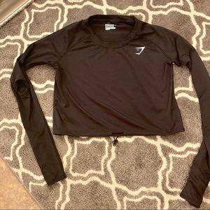 GymShark Black drawcord crop top